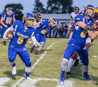 Johnsburg's running-back Jack Kegel (5) looks for an opening against conference rival Richmond-Burton Friday, September 8, 2017 at Johnsburg High School in Johnsburg. Johnsburg goes on to win 34-10. KKoontz- For Shaw Media