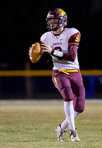 Richmond-Burton High School quarterback Luke Uhwat looks downfield against conference rival Johnsburg Friday, September 8, 2017 at Johnsburg High School in Johnsburg. KKoontz – For Shaw Media