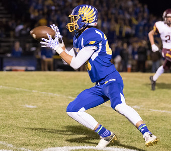 Johnsburg High School receiver Brody Frazier makes the catch and then turns up-field against conference rival Richmond-Burton Friday, September 8, 2017 at Johnsburg High School in Johnsburg. Johnsburg goes on to win 34-10. KKoontz- For Shaw Media