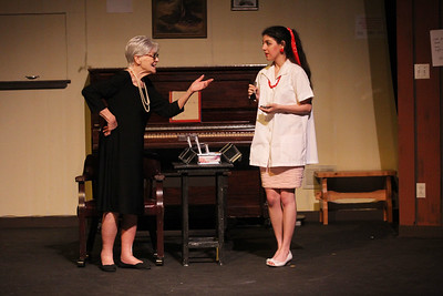 Candace H. Johnson-For Shaw Media Dianne Hosken, of Lindenhurst (Ruth) rehearses a scene with Jamie Lee Cortese, of Bartlett (beautician) during the dress rehearsal of Calendar Girls at PM& L Theatre in Antioch. The show runs from September 7th-23rd on weekends. (9/4/18)