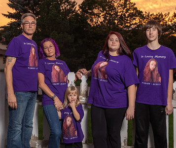 The Searcy Family (L-R) Terry, Tammy, Coraline, Lacy, and Campbell wear shirts remembering Michael Roach, Saturday, September 8, 2018 in McHenry. Michael died August 31st, 2017 from taking the synthetic opioid Fentanyl. KKoontz – For Shaw Media