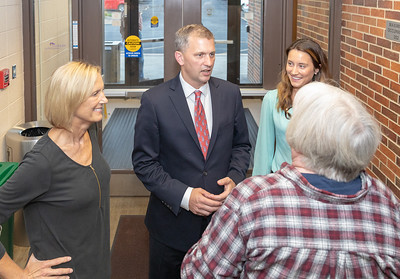 Democrat candidate for the 6th Congressional district, Sean Casten (center) meets with area residents Monday, September 10, 2018 at a candidate forum held by the League of Women Voters at McHenry County College in Crystal Lake.  KKoontz – For Shaw Media