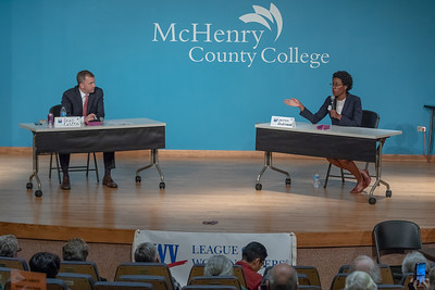 Democrat candidate for the 6th Congressional district, Sean Casten and Democrat candidate for the 14th Congressional district, Lauren Underwood, take questions from the audience Monday September 10, 2018 at a candidate forum held by the League of Women Voters at McHenry County College in Crystal Lake.  KKoontz – For Shaw Media
