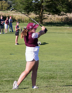 Morgan Taylor from Prairie Ridge High School hits from the fairway Tuesday, September 11, 2018 at the McHenry County Girls Golf Tournament held at the Boone Creek Golf Club in Bull Valley. Ken Koontz for Shaw Media