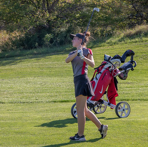 Lauren McNulty from Marian High School hits from the fairway Tuesday, September 11, 2018 at the McHenry County Girls Golf Tournament at the Boone Creek Golf Club in Bull Valley. Ken Koontz for Shaw Media