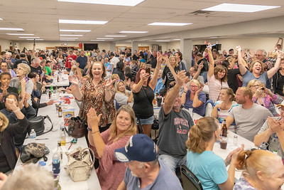 The crowd at the Queen of Hearts raffle celebrates no jackpot winner Tuesday, September 11, 2018 at the VFW in McHenry. No winner will mean that a draw-down will be held next Tuesday. KKoontz – For Shaw Media