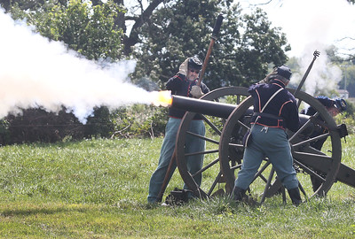 Candace H. Johnson-For Shaw Media Union soldiers from the Chicago Light Artillery shoot off their cannon while fighting the Confederates in a narrated battle during Hainesville's Civil War Encampment & Battle at the Northbrook Sports Club on Hainesville Road. (9/9/18)