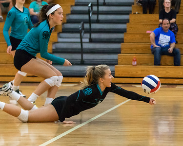 Woodstock North's Lauren Kunke makes an incredible save Thursday, September 13, 2018 against crosstown rival Woodstock High School. Woodstock went on to win the match in two straight sets. KKoontz – For Shaw Media