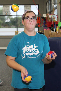 Candace H. Johnson-For Shaw Media Kiara Promenzio, 12, of Ingleside, with the Stars Performance Troupe, practices juggling for an upcoming show in Chicago at Circus Kazoo in Grayslake.