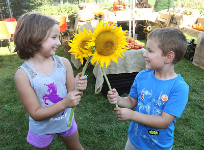 Candace H. Johnson-For Shaw Media Lauren Webber, 7, of Grayslake and her brother, Ryan, 6, look at some sunflowers grown at the College of Lake County Campus Farm and sold at their market in Grayslake during the Lake County Farm Stroll. (9/16/18)