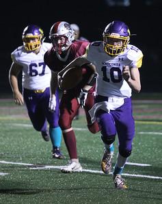 Candace H. Johnson-For Shaw Media Wauconda's quarterback Nicholas Bulgarelli (#10) runs the ball against Antioch in the third quarter at Antioch Community High School. Antioch won 49-13. (9/14/18)