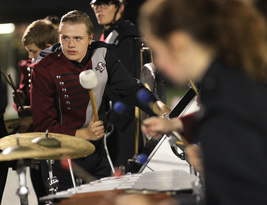 Candace H. Johnson-For Shaw Media Antioch Marching Sequoits senior Christian Plonski, on percussion, entertains the crowd with video game music at half-time during the varsity football game against Wauconda at Antioch Community High School.  (9/14/18)
