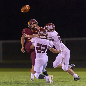 Marengo's Blake Heinberg blocks a punt against Richmond-Burton Friday, September 21, 2018 in Richmond. Marengo takes the win 14-13. KKoontz – For Shaw Media