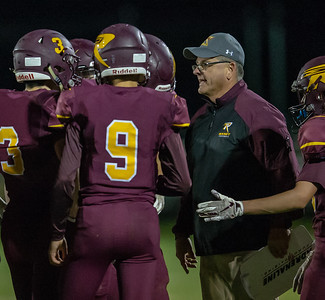 Richmond-Burton head coach Mike Noll talks to his players during the match-up with Marengo Friday, September 21, 2018 in Richmond. Marengo ends up taking the conference match-up 14-13. KKoontz – For Shaw Media
