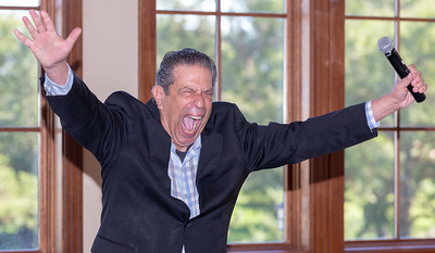 "John ""Bowzer"" Bauman of the band Sha Na Na and head of The Social Security Works Political Action Committee jokes with area residents Thursday, September 26, 2018 at Pinecrest Golf Club in Huntley. The event was held to endorse and show support for 14th congressional District Democratic Candidate Lauren Underwood.  KKoontz – For Shaw Media"