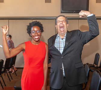 "John ""Bowzer"" Bauman of the band Sha Na Na and head of The Social Security Works Political Action Committee along with14th congressional District Democratic Candidate Lauren Underwood pose for a photo Thursday, September 26, 2018 at Pinecrest Golf Club in Huntley.  KKoontz – For Shaw Media"