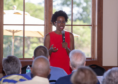 Lauren Underwood, 14th Congressional District Democratic Candidate talks with area residents Thursday, September 26, 2018 at Pinecrest Golf Club in Huntley. KKoontz – For Shaw Media
