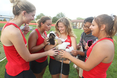 Candace H. Johnson-For Shaw Media Grant's Frances Williams, of Ingleside (center) shows off her new St. Bernard puppy named, Scout, to her friends, Emily Polark, Elis Lelchuck, Joseph Ngo and Nicole Zbierzkowski, all 17, after their varsity tennis game against Warren at Grant Community High School in Fox Lake. (9/3/19)