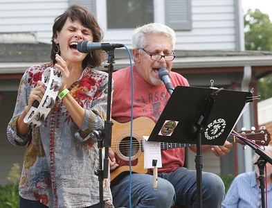 "Candace H. Johnson-For Shaw Media Barb Trudell and Paul Wheatland, both of Wauconda with the band called, Classic Drive, sing, ""Some Kind of Wonderful,"" during the Wauconda Street Dance on Main Street in Wauconda. (8/31/19)"