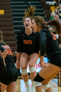 Camryn Hausler celebrates a point against Cary Grove in the final Matchup.