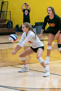 The Tigers Karina Simatos bumps the ball back over the net.