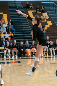 The Tiger's Madelyn McCormick Fires back a hard spike to seal the win for Crystal Lake Central.