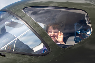 Violet Huber (age 6) from Wadsworth checks out the cockpit of a jet aircraft at the 2019 Northern Illinois Airshow held Saturday, September 7, 2019 at the Waukegan National Airport in Waukegan.