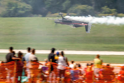 A plane flies inverted above the runway during the 2019 Northern Illinois Airshow held Saturday, September 7, 2019 at the Waukegan National Airport in Waukegan.