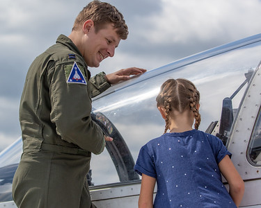 Pilot Ryan Lutz tells Carli Ring (age 8) from Antioch all about his airplane at the 2019 Northern Illinois Airshow held Saturday, September 7, 2019 at the Waukegan National Airport in Waukegan.