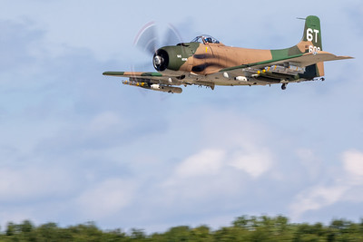 An A1 Skyraider makes a low pass over the runway during the 2019 Northern Illinois Airshow held Saturday, September 7, 2019 at the Waukegan National Airport in Waukegan.