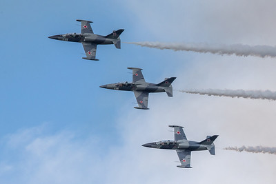 Jets fly in formation during the 2019 Northern Illinois Airshow held Saturday, September 7, 2019 at the Waukegan National Airport in Waukegan.