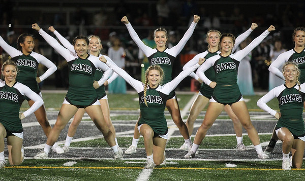 Candace H. Johnson-For Shaw Media Grayslake Central cheerleaders perform at half-time during the varsity football game against Mundelein at Grayslake Central High School. Mundelein won 31-13. (9/6/19)