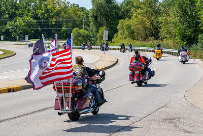 Motorcycle enthusiasts ride west on Charles J MIller road during the 17th annual Rolling Thunder motorcycle ride September 15, 2019 in McHenry. The ride began in North Chicago and ended in Woodstock.