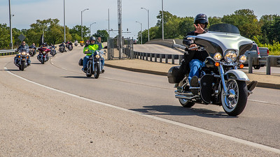 Motorcycle enthusiasts cross the Fox River during the 17th annual Rolling Thunder motorcycle ride September 15, 2019 in McHenry. The ride began in North Chicago and ended in Woodstock.