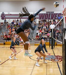 Prairie Ridge's Trinity Sheridan flies high during the game against Huntley Tuesday, September 17, 2019 in Crystal Lake. Huntley went on to win in two straight sets.