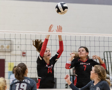 Huntley's Katelyn Bower puts the ball in play against Prairie Ridge Tuesday, September 17, 2019 in Crystal Lake. Huntley went on to win in two straight sets.