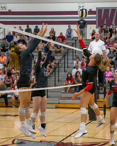 Huntley's Ashley Konecki redirects the ball against Prairie Ridge Tuesday, September 17, 2019 in Crystal Lake. Huntley went on to win in two straight sets.