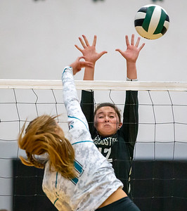 Woodstock's Sophia Wicker (right) blocks a shot from Woodstock North's Alyssa Wickersheim (left) Wednesday, September 18, 2019 at Woodstock North High School. Woodstock gets the win in two sets.