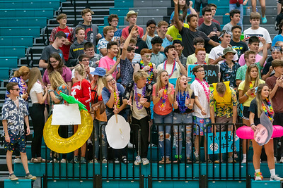 Woodstock North volleyball fans bring out the beach theme and watch their team play rival Woodstock Wednesday, September 18, 2019 at Woodstock North High School. Woodstock gets the win in two sets.
