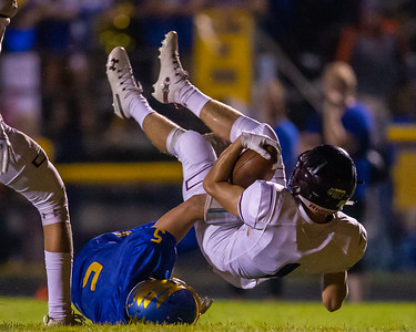 Marengo's Cole Davis scores in the first quarter from five yards out against Johnsburg Friday, September 20, 2019 in Johnsburg. Marengo goes on to shutout Johnsburg 33-0.