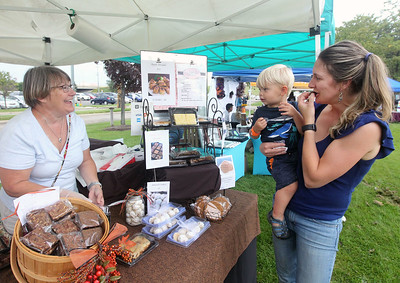 Candace H. Johnson-For Shaw Media Kathy Cantlon, of Westmont with Sinfully Delicious Brownies, talks with Lindsay Dereadt, of Wadsworth and her son, R.J. 1, as they sample a brownie during Fall on the Farm at Lambs Farm in Libertyville. (9/21/19)