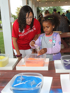 Candace H. Johnson-For Shaw Media Volunteer Sara Dameron, of Grayslake helps Varsity Corbbins, 4, of Zion make sand art during Fall on the Farm at Lambs Farm in Libertyville. (9/21/19)