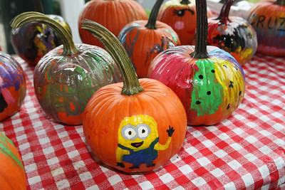 Candace H. Johnson-For Shaw Media Pumpkins painted by children wait to dry during Fall on the Farm at Lambs Farm in Libertyville. (9/21/19)