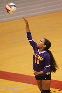 Candace H. Johnson-For Shaw Media Waukegan's Raia Ahmed serves against Grant in the second set at Grant Community High School in Fox Lake. Grant won 25-17, 25-14. (9/24/19)