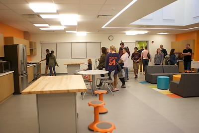 Students and parents look around the new Family Consumer Sciences room at Prairie Grove School on Sept. 29.