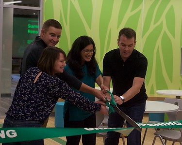 School Board Members Sherry Bennett, Steveve Sebastian , Khushali Shah and Ryan Noonan cut the ribbon for the opening of the library at Prairie Grove School on Sept. 29.