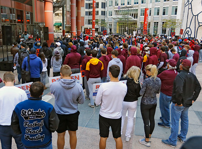 """Demonstrators gathered and listened to speakers at the """"Let Us Play"""" rally in support of a return to high school sports on Saturday, September 19, 2020 at the James R. Thompson Center in Chicago, IL."""