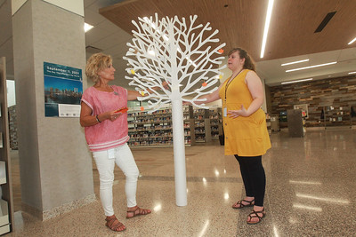 Candace H. Johnson-For Shaw Media Nina Kenney, of Antioch, head of communications, and Annie Tillmann, of Park Ridge, adult services program specialist, talk about putting together the 9/11 display, which includes a tree with messages of hope written by patrons on leaves to commemorate the 20th Anniversary of 9/11 at the Lake Villa District Library in Lindenhurst.  (9/7/21)