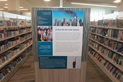 Candace H. Johnson-For Shaw Media 9/11 posters are on display at the Lake Villa District Library in Lindenhurst. The posters came from the 9/11 Memorial & Museum in New York.  (9/7/21)