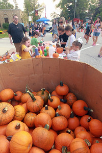 Candace H. Johnson-for Shaw Media Pumpkins were available for the pumpkin painting activity during the Celebration of Fall event on Cedar Avenue in Lake Villa.  (9/11/21)